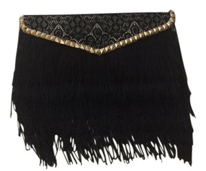 Jamie Leigh Fringe Lace Stud Black and Gold Clutch