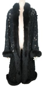 Pamella Roland Lace Fox Fur Cocktail Silk Fur Coat