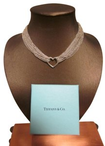 Tiffany & Co. Tiffany & Co Sterling Silver Heart Mesh Strand Necklace