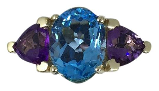 Preload https://img-static.tradesy.com/item/17142643/blue-stunning-oval-shape-starburst-cut-topaz-35-ct-2-ct-amethyst-in-three-stone-setting-14kt-gold-ri-0-1-540-540.jpg