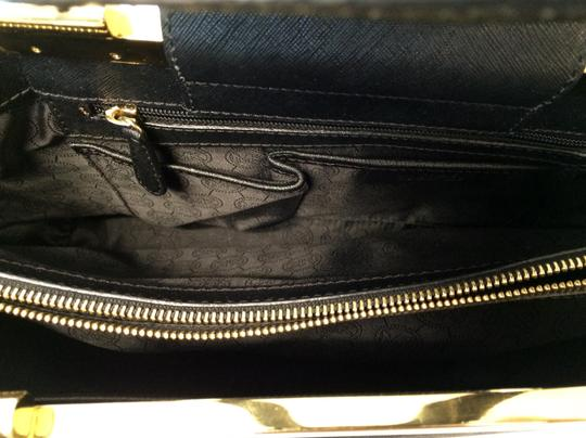 MICHAEL Michael Kors Saffiano Leather Leather Gold Hardware Satchel in Black Image 3