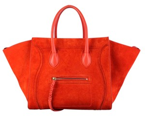 Céline Phantom Suede Tote in Orange