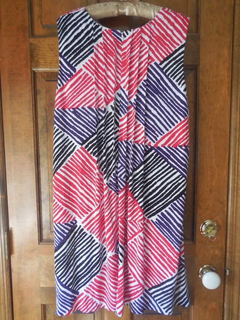 Calvin Klein short dress White w/Red Black Purple Fully Lined Stripes Rounded Neckline Zipper Close Pockets on Tradesy Image 3