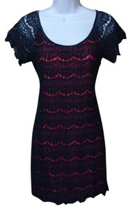 Max Studio short dress Blue Red Lace Crochet Leggings Layered Tunic Sheath on Tradesy