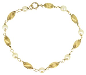 Other Vintage 14K Yellow Gold Pearl Bracelet 7