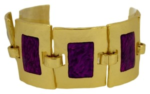Other 24-kt Gold-Plated Pewter Fenced Chain Link Enamel Bracelet