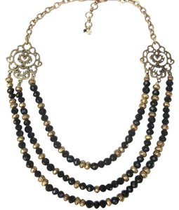 Lucky Brand Black Beaded Multi Row Necklace Gold Tone Matching Earrings NWT Set
