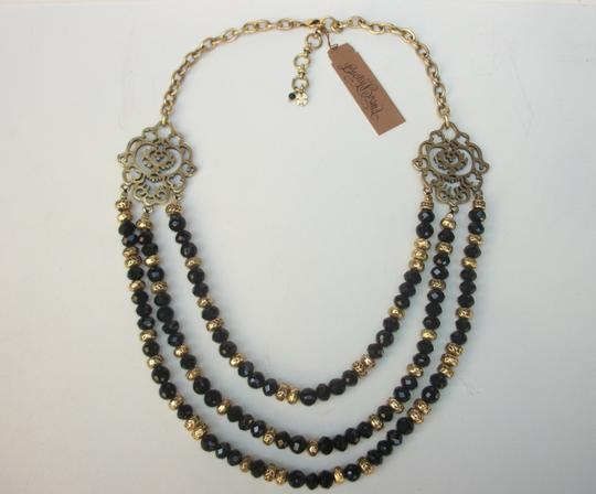 Lucky Brand Black Beaded Multi Row Necklace Gold Tone Matching Earrings NWT Set Image 1