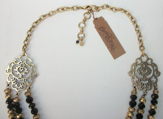 Lucky Brand Black Beaded Multi Row Necklace Gold Tone Matching Earrings NWT Set Image 2