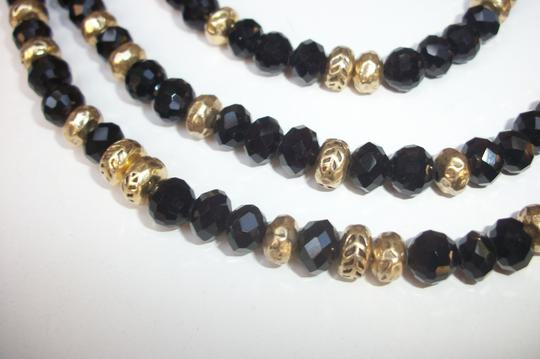 Lucky Brand Black Beaded Multi Row Necklace Gold Tone Matching Earrings NWT Set Image 3