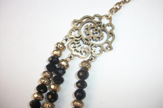 Lucky Brand Black Beaded Multi Row Necklace Gold Tone Matching Earrings NWT Set Image 4