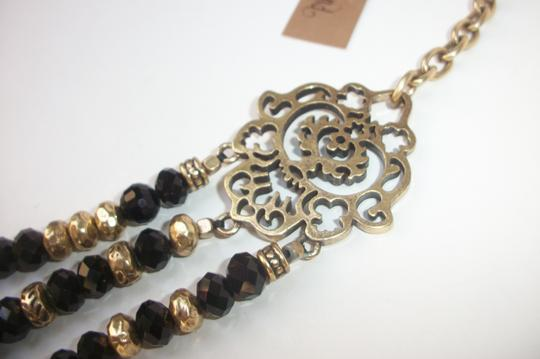 Lucky Brand Black Beaded Multi Row Necklace Gold Tone Matching Earrings NWT Set Image 5