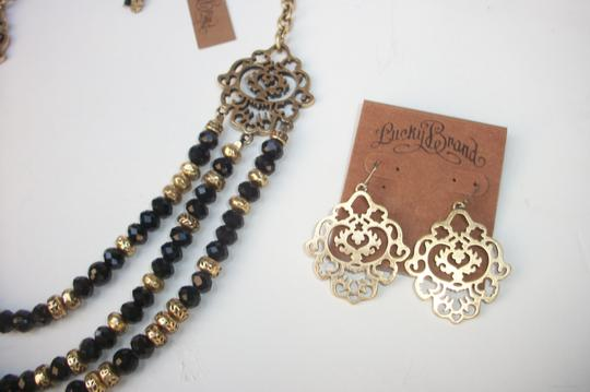 Lucky Brand Black Beaded Multi Row Necklace Gold Tone Matching Earrings NWT Set Image 6