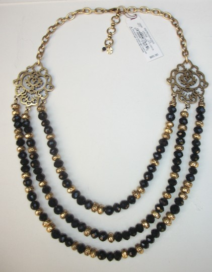 Lucky Brand Black Beaded Multi Row Necklace Gold Tone Matching Earrings NWT Set Image 7