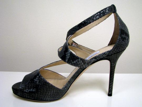 Jimmy Choo Snake Summer Party Gray, Metallic Sandals Image 1