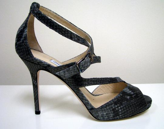 Jimmy Choo Snake Summer Party Gray, Metallic Sandals Image 2