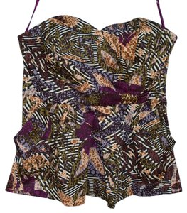 Anthropologie Summer Cotton Fei Bustier Top Purple, Green, Yellow