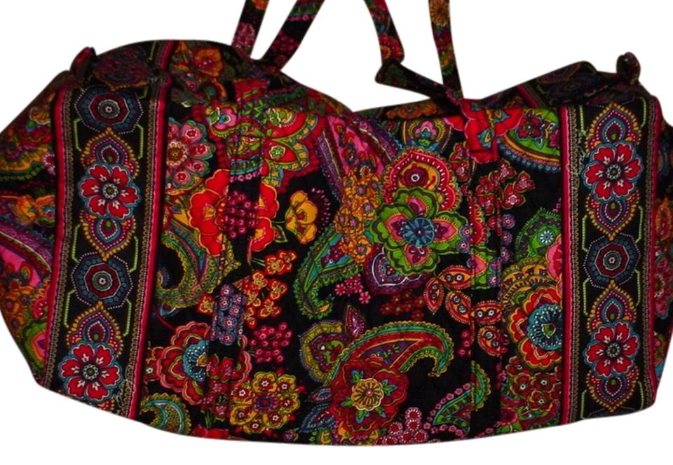 dc0ae81ad3a9 Vera Bradley Duffel Large Vacation Cruise Floral Stylish Classy Baby Family  Colorful Black Paisley Symphony in