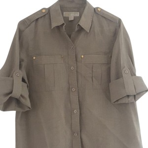 MICHAEL Michael Kors Button Down Shirt Tan with gold tone hardware