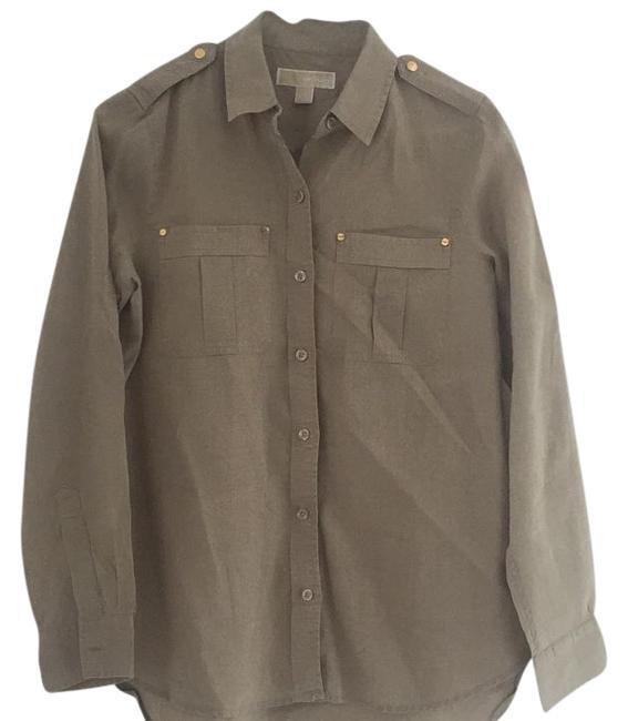 MICHAEL Michael Kors Button Down Shirt Tan with gold tone hardware Image 1