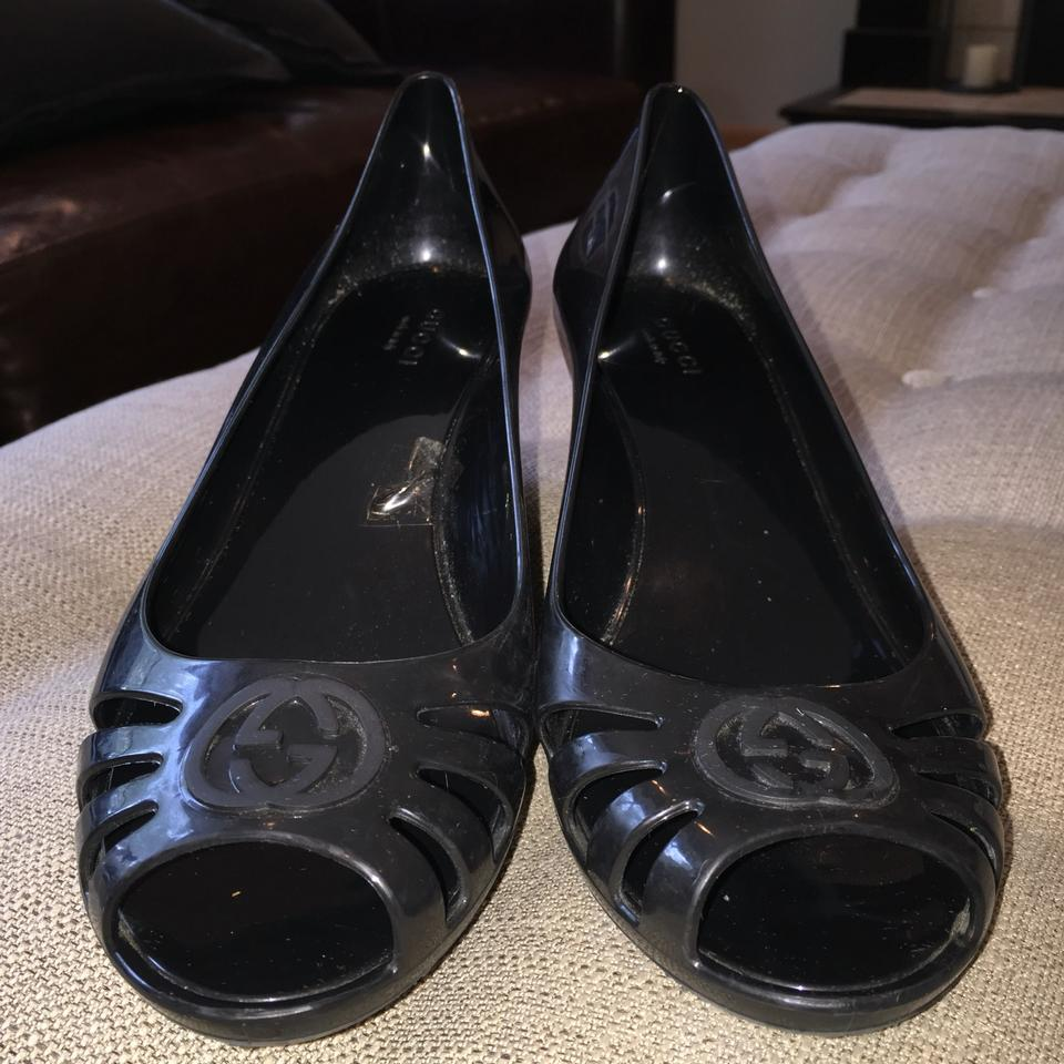 f22a68780b50 Gucci Black Marola Rubber Jellies Jelly Gg Signature Logo Monogram Nero  Marolo Pump Sandals Heels Wedges Size EU 39 (Approx. US 9) Regular (M