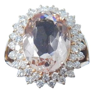 GORGEOUS OVAL SHAPE STARBURST CUT MORGANITE RING 7.5 CT. 1.2 (TOTAL) DIAMOND IN SHANK/SPLIT-SHANK 14KT WHITE GOLD