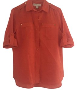 MICHAEL Michael Kors Button Down Shirt Orange with gold tone hardware