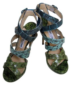 Jimmy Choo Snake Party Multi Blue, Cerulean, Celery Sandals
