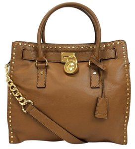 Michael Kors Large Tan Hamilton Whipstitch Leather Tote in Luggage