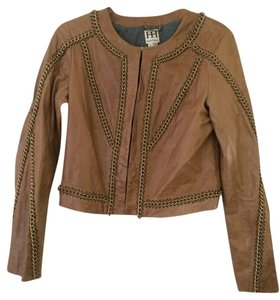 Haute Hippie Chain Leather Cognac/tan Leather Jacket