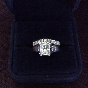 1.5 Ct. Moissanite Engagement Ring And Custom Moissanite Wedding Band