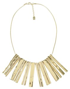 Ralph Lauren $158 LAUREN Hammered Bars Gold Tone Frontal Necklace