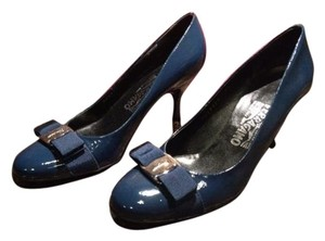 Salvatore Ferragamo Classic Patent Leather Cobalt Blue Pumps