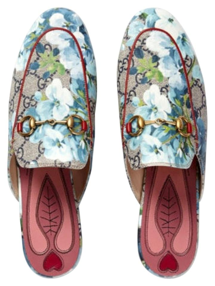 507b4bc65 Gucci Blue Multicolor Last Princetown Gg Blooms Slipper Loafers 36.5 ...