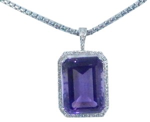 STUNNING OVAL SHAPE STARBURST CUT AMETHYST PENDANT 50.8 CT EMERALD CUT SURROUNDED BY SINGLE ROW OF MICRO SET DIAMONDS (HALO), WITH WIRE-WORK GALLERY DESIGN. IN HALO SETTING 14KT WHITE GOLD