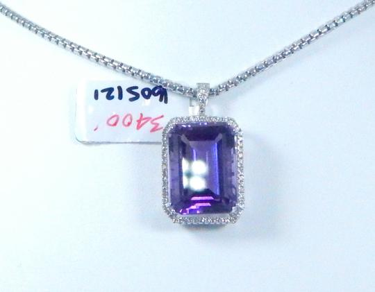 Other STUNNING OVAL SHAPE STARBURST CUT AMETHYST PENDANT 50.8 CT EMERALD CUT SURROUNDED BY SINGLE ROW OF MICRO SET DIAMONDS (HALO), WITH WIRE-WORK GALLERY DESIGN. IN HALO SETTING 14KT WHITE GOLD Image 1