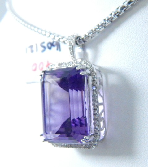Other STUNNING OVAL SHAPE STARBURST CUT AMETHYST PENDANT 50.8 CT EMERALD CUT SURROUNDED BY SINGLE ROW OF MICRO SET DIAMONDS (HALO), WITH WIRE-WORK GALLERY DESIGN. IN HALO SETTING 14KT WHITE GOLD Image 2