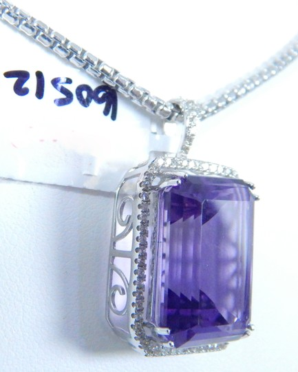 Other STUNNING OVAL SHAPE STARBURST CUT AMETHYST PENDANT 50.8 CT EMERALD CUT SURROUNDED BY SINGLE ROW OF MICRO SET DIAMONDS (HALO), WITH WIRE-WORK GALLERY DESIGN. IN HALO SETTING 14KT WHITE GOLD Image 3