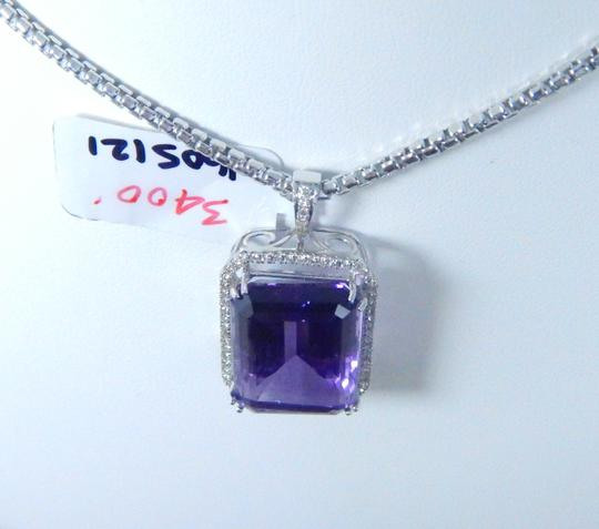 Other STUNNING OVAL SHAPE STARBURST CUT AMETHYST PENDANT 50.8 CT EMERALD CUT SURROUNDED BY SINGLE ROW OF MICRO SET DIAMONDS (HALO), WITH WIRE-WORK GALLERY DESIGN. IN HALO SETTING 14KT WHITE GOLD Image 4