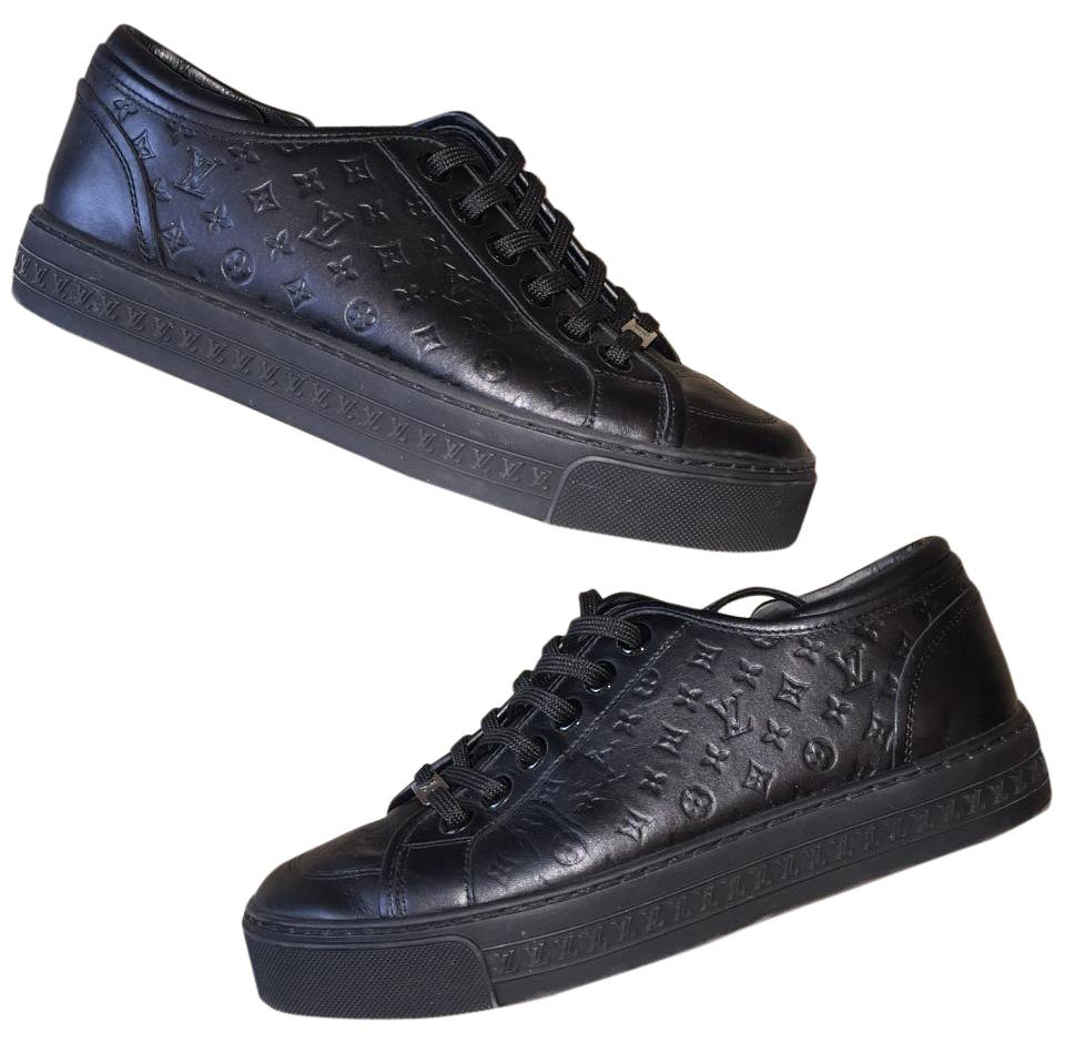 a0ae5f5c226c Louis Vuitton Black Jazzy Sneakers Monogram Lv Embossed Flat ...
