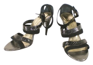 Kenneth Cole Snakeskin Suede Strappy Italy Black Sandals