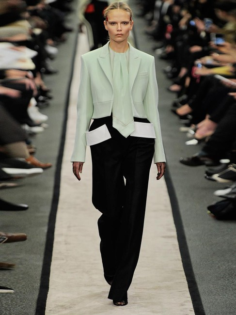 Givenchy Neck Tie Runway Unique Quirky Statement Top Green Image 1