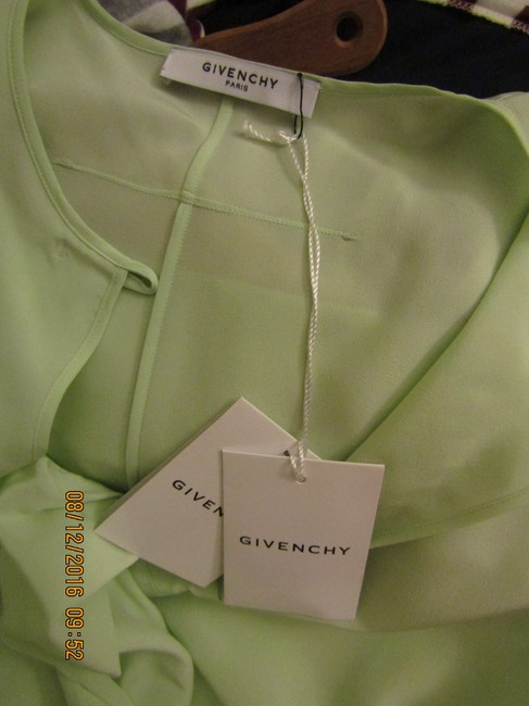 Givenchy Neck Tie Runway Unique Quirky Statement Top Green Image 10