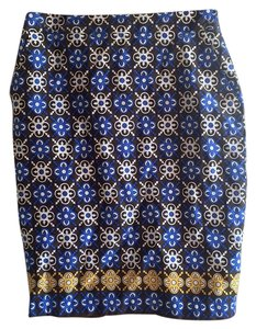 Charter Club Pencil Pattern Vintage Colorful Skirt Blue, white, brown, gold
