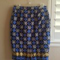 Charter Club Pencil Pattern Vintage Colorful Skirt Blue, white, brown, gold Image 2