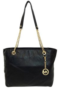 Michael Kors Large Jet Set Chain Handles Pebbled Leather Tote in Black