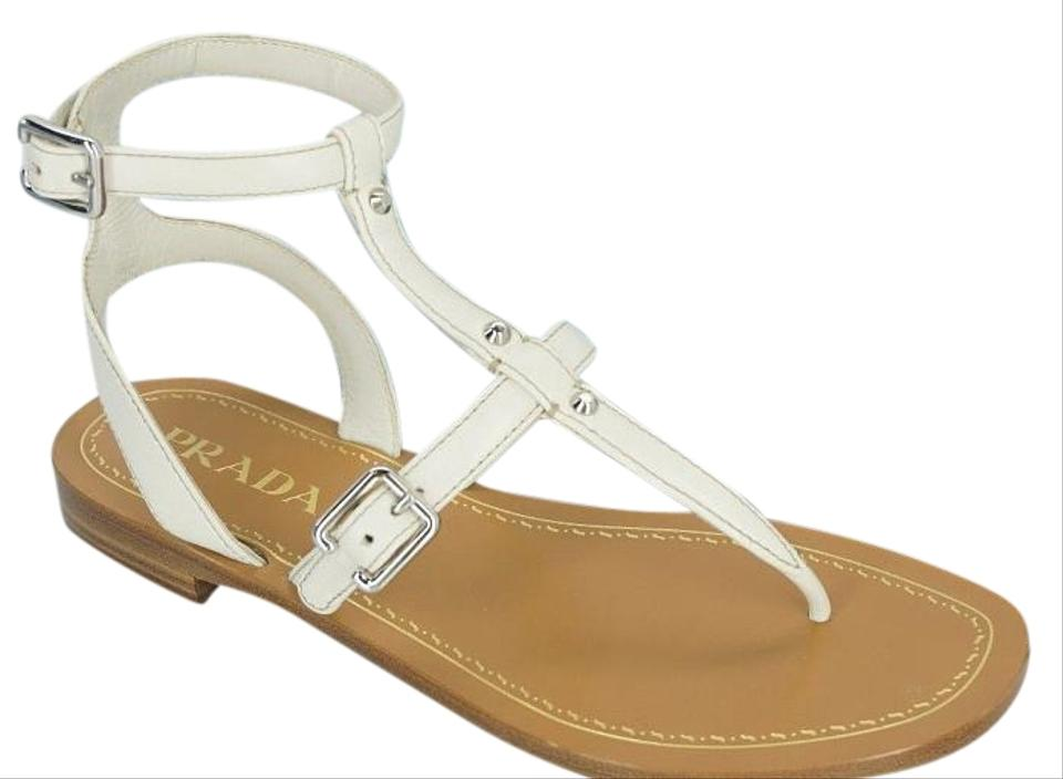 d6885fec1faf5 Prada White Leather Ankle T Strap Caged Thong Flat Sandals Size EU ...