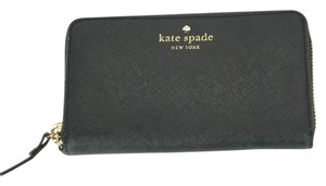 Kate Spade Black Textured Leather Cobble Hill Medium Lacey Continental Zip Wallet