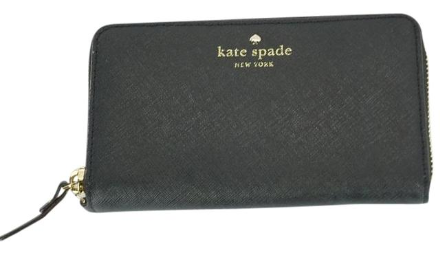 Kate Spade Black Textured Leather Cobble Hill Medium Lacey Continental Zip Wallet Kate Spade Black Textured Leather Cobble Hill Medium Lacey Continental Zip Wallet Image 1