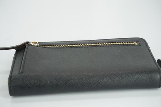 Kate Spade Black Textured Leather Cobble Hill Medium Lacey Continental Zip Wallet Image 5